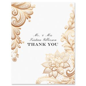 Gold Lace Thank You Cards