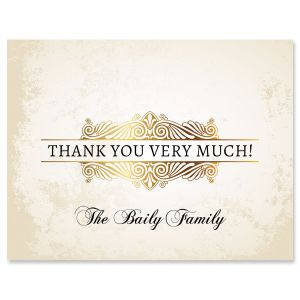 Rustic Gold Thank You Cards