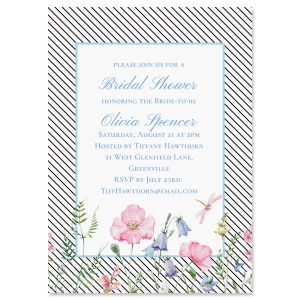 Diagonal Stripped Floral Invitations