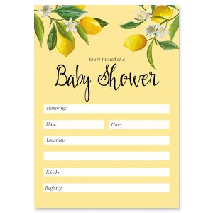 Lemons Baby Shower Fill In Invitations