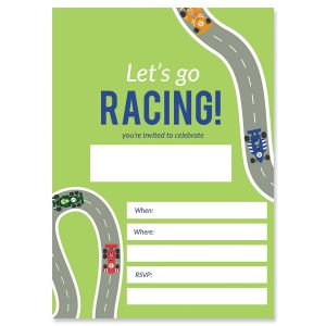 Race Car Birthday Fill In Invitations