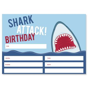 Shark Attack Birthday Fill In Invitations