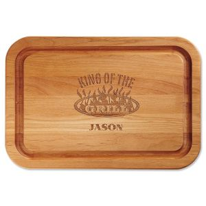 King of the Grill Engraved Alder Wood Cutting Board