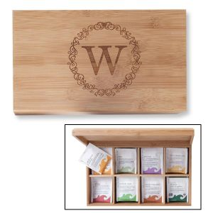 Bamboo Custom Tea Box with Scrollwork Initial