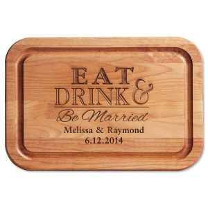 Eat, Drink, Be Married Engraved Alder Wood Cutting Board