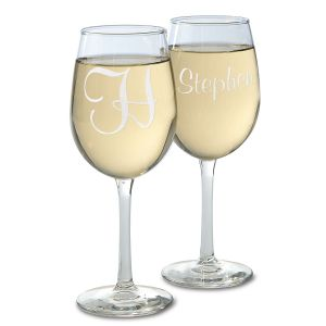 Personalized Script Stemmed Engraved Wine Glasses