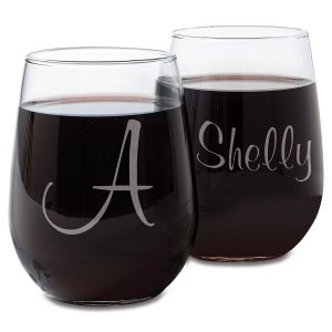 Personalized Script Stemless Engraved Wine Glasses