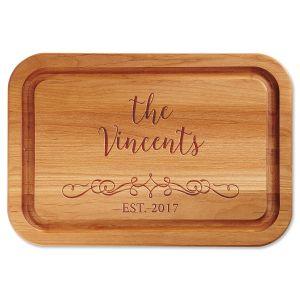 Vine-Design Engraved Alder Wood Cutting Board