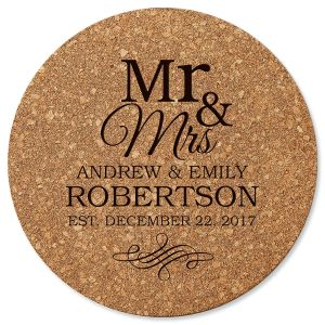 Mr. & Mrs. Round Cork Trivet