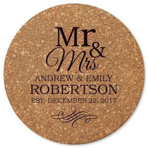 Mr. & Mrs. Round Cork Trivet