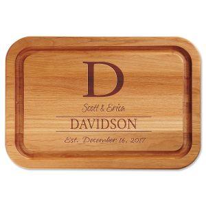 Initial Engraved Alder Wood Cutting Board