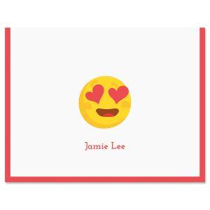 Red Heart Eye Emoji Note Cards