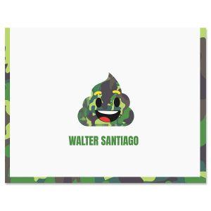 Green Camo Poop Emoji Note Cards