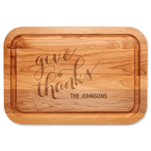 Give Thanks Engraved Alder Wood Cutting Board