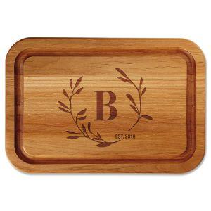 Circle Laurel Engraved Alder Cutting Board