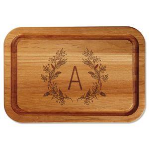 Floral Laurel Initial Engraved Alder Wood Cutting Board
