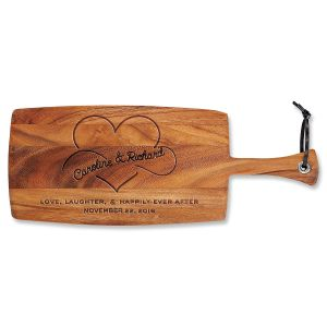 Happily Ever After Engraved Acacia Wood Paddle Cutting Board