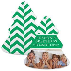 Green Chevron Custom Photo Tree Ornament
