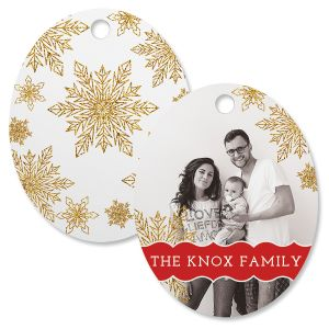 Glitter Snowflake Custom Photo Oval Ornament