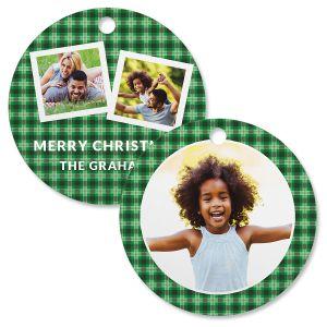 Green Plaid Custom Photo Circle Ornament