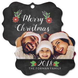 Merry Chalk Custom Photo Ornament