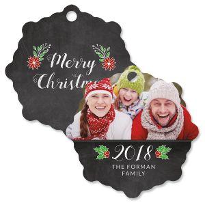 Merry Chalk Custom Photo Snowflake Ornament