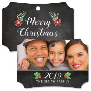 Merry Chalk Custom Photo Deluxe Ornament