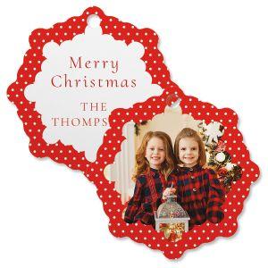 Polka Dot Photo Custom Snowflake Ornament