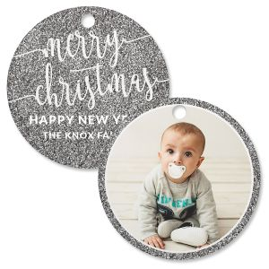Silver Glitter Photo Custom Circle Ornament
