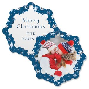 Blue Snowflake Custom Photo Ornament