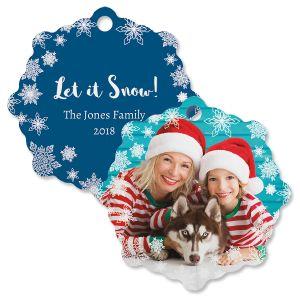 Let It Snow Custom Photo Snowflake Ornament