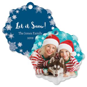 Let It Snow Custom Photo Snowflake Ornament