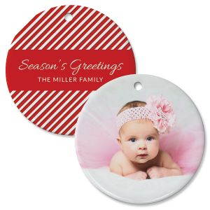 Candy Cane Custom Photo Circle Ornament