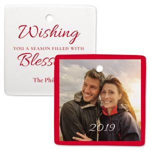 Blessings Custom Photo Square Ornament