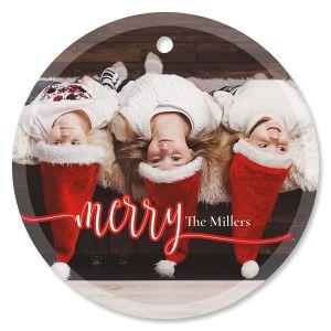 Merry Custom Photo Glass Round Ornament