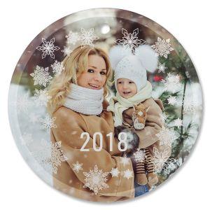 Snowflake Photo Custom Glass Round Ornament