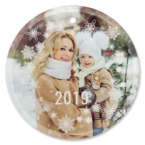 Snowflake Photo Custom Glass Round Ornament