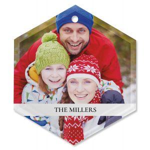 Family Name Custom Photo Glass Hexagon Ornament