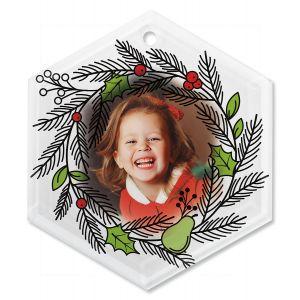 Wreath Custom Photo Glass Hexagon Ornament