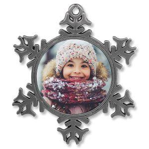 Metal Snowflake Full Photo Ornament