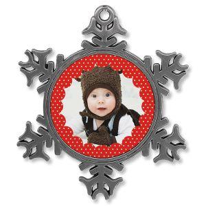 Metal Snowflake Polka Dot Photo Ornament