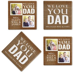 Burlap Photo Custom Coasters