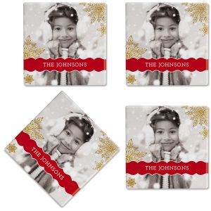 Glitter Snowflake Photo Custom Coasters