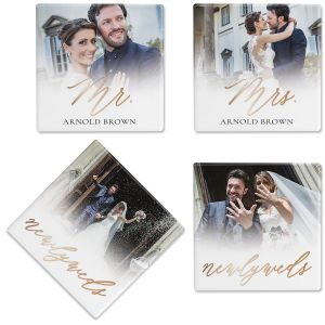 Newlyweds Photo Custom Coasters