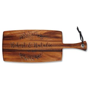 Wreath Engraved Acacia Wood Paddle Cutting Board