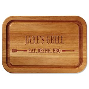 Eat, Drink, BBQ Engraved Alder Wood Cutting Board