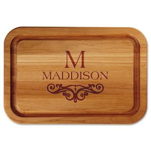 Last Name Scroll Engraved Alder Wood Cutting Board