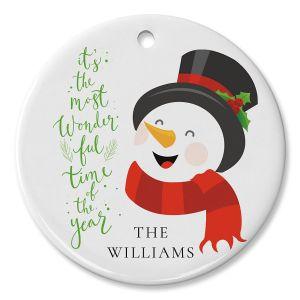 Laughing Snowman Custom Circle Ornament