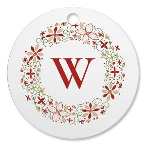 Circle Wreath Initial Custom Ornament