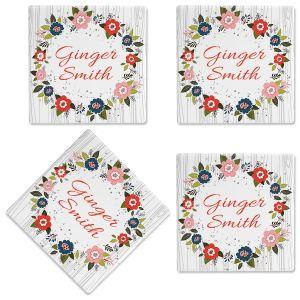 Floral Wreath Customized Ceramic Coasters